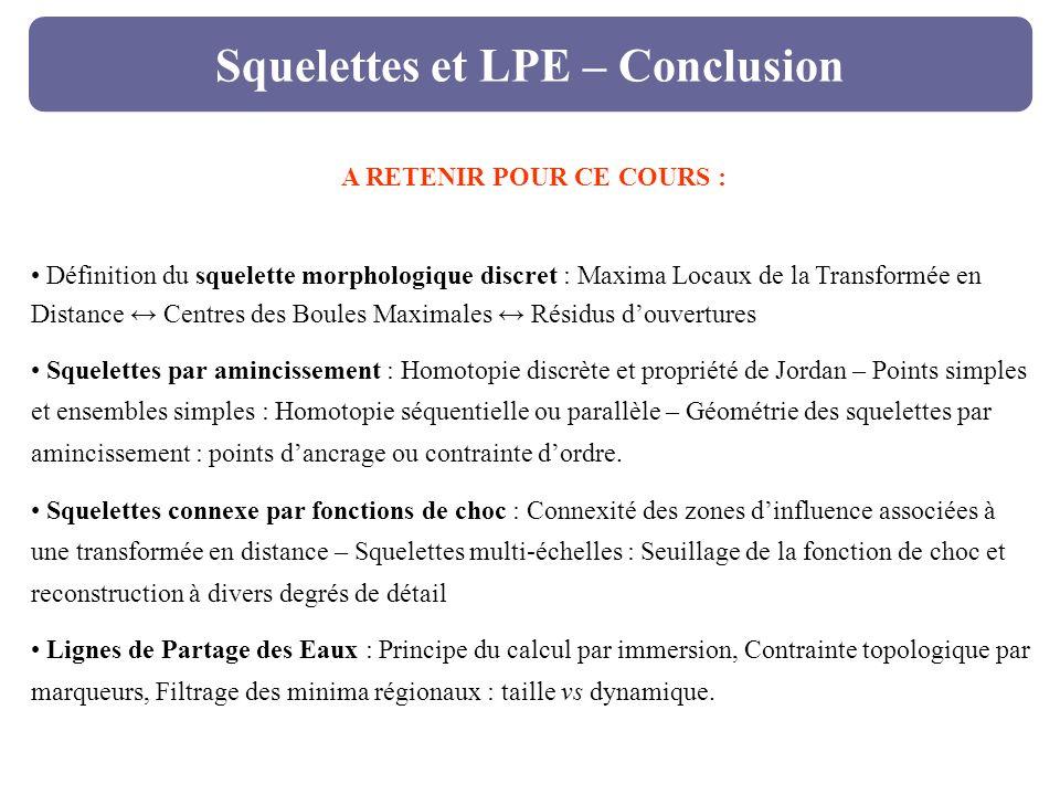 Squelettes et LPE – Conclusion