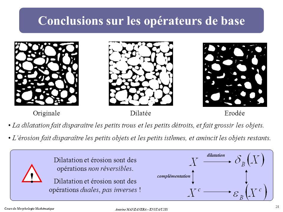 Conclusions sur les opérateurs de base