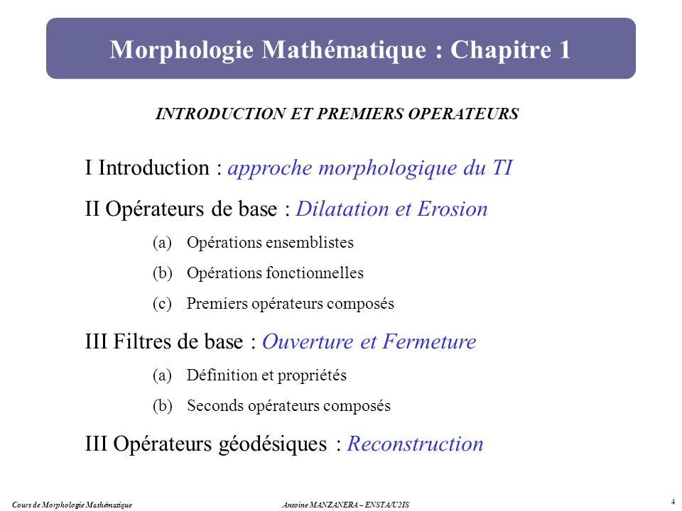 Morphologie Mathématique : Chapitre 1