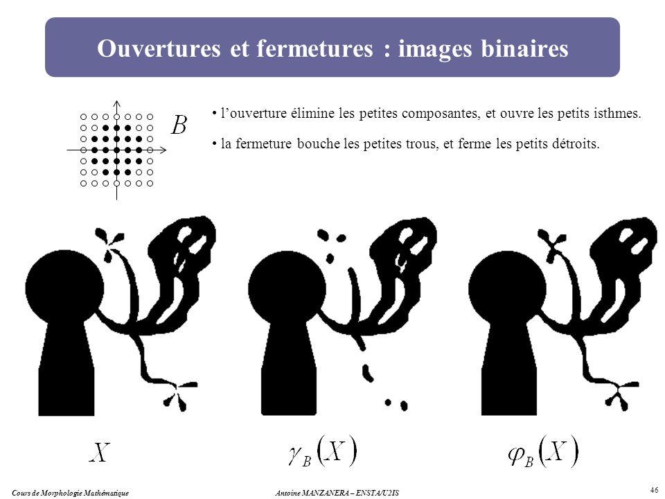 Ouvertures et fermetures : images binaires