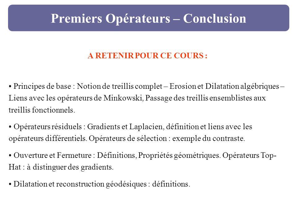 Premiers Opérateurs – Conclusion