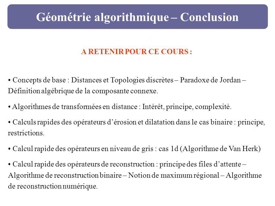 Géométrie algorithmique – Conclusion