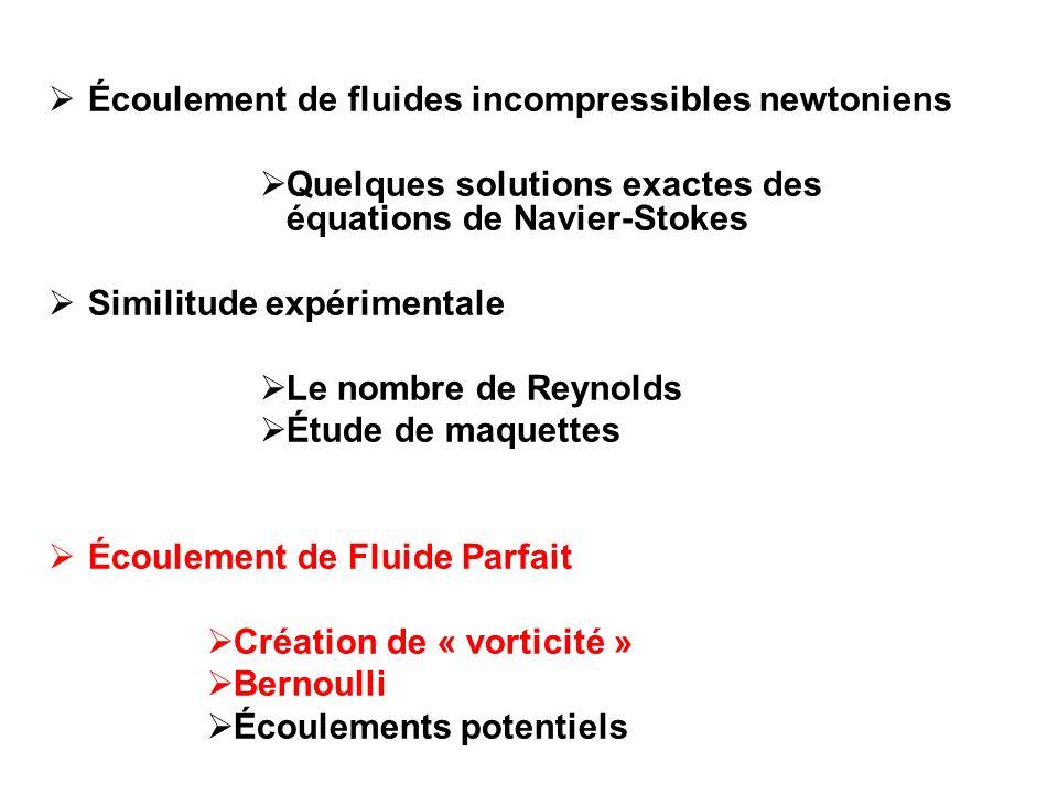 Écoulement de fluides incompressibles newtoniens
