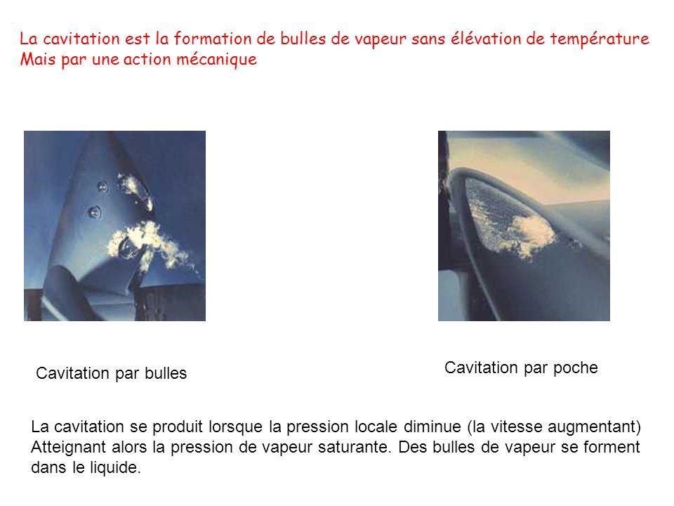 La cavitation est la formation de bulles de vapeur sans élévation de température