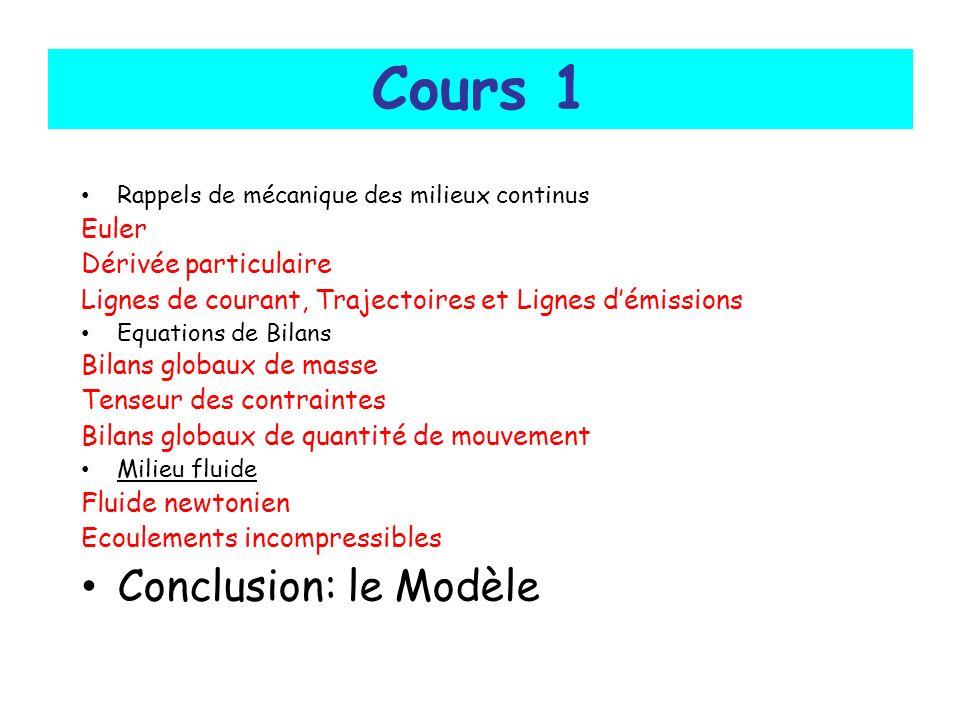 Cours 1 Conclusion: le Modèle Euler Dérivée particulaire