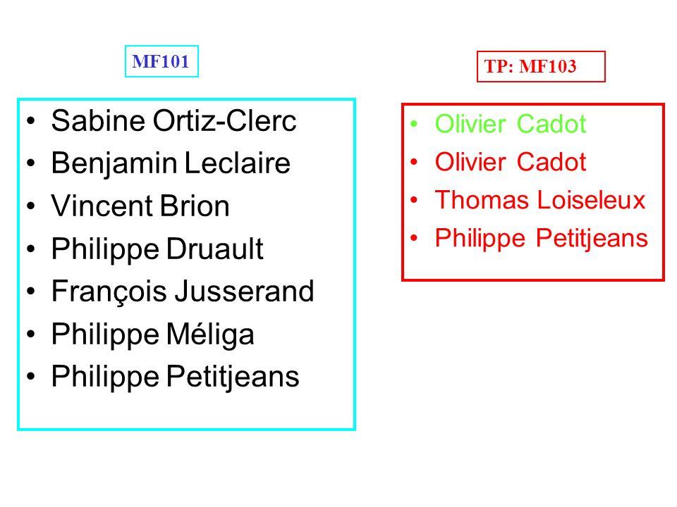 Sabine Ortiz-Clerc Benjamin Leclaire Vincent Brion Philippe Druault