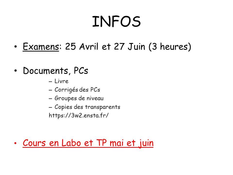 INFOS Examens: 25 Avril et 27 Juin (3 heures) Documents, PCs
