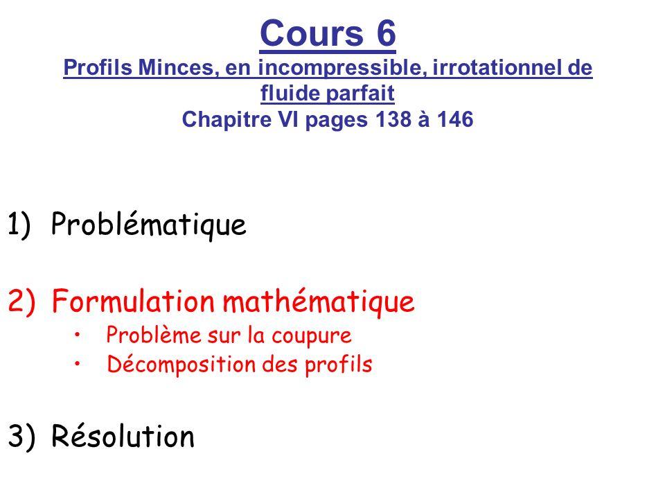 Problématique Formulation mathématique. Problème sur la coupure. Décomposition des profils. Résolution.