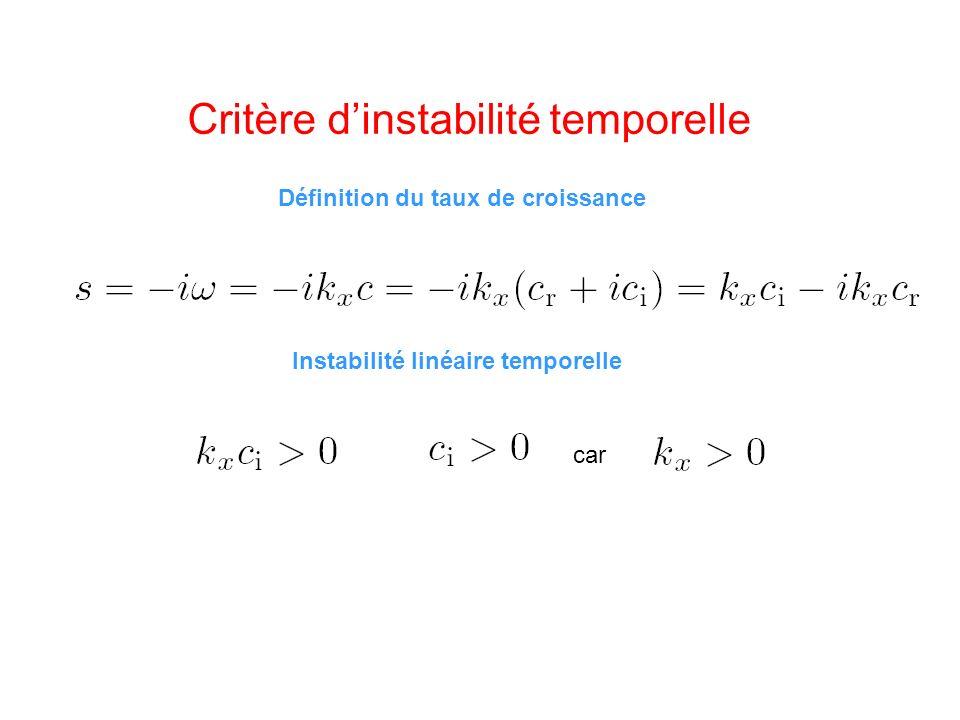Critère d'instabilité temporelle