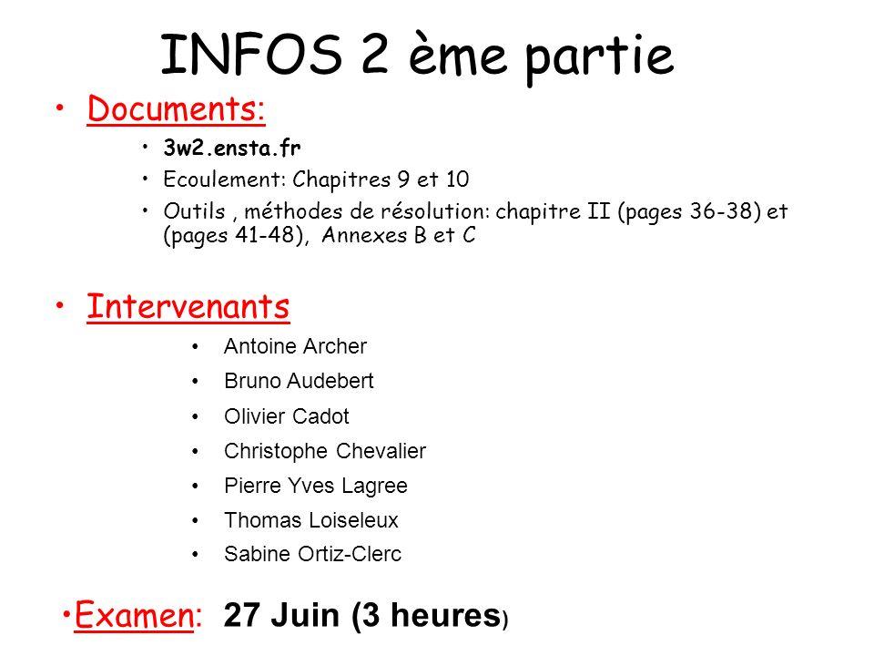 INFOS 2 ème partie Documents: Intervenants Examen: 27 Juin (3 heures)