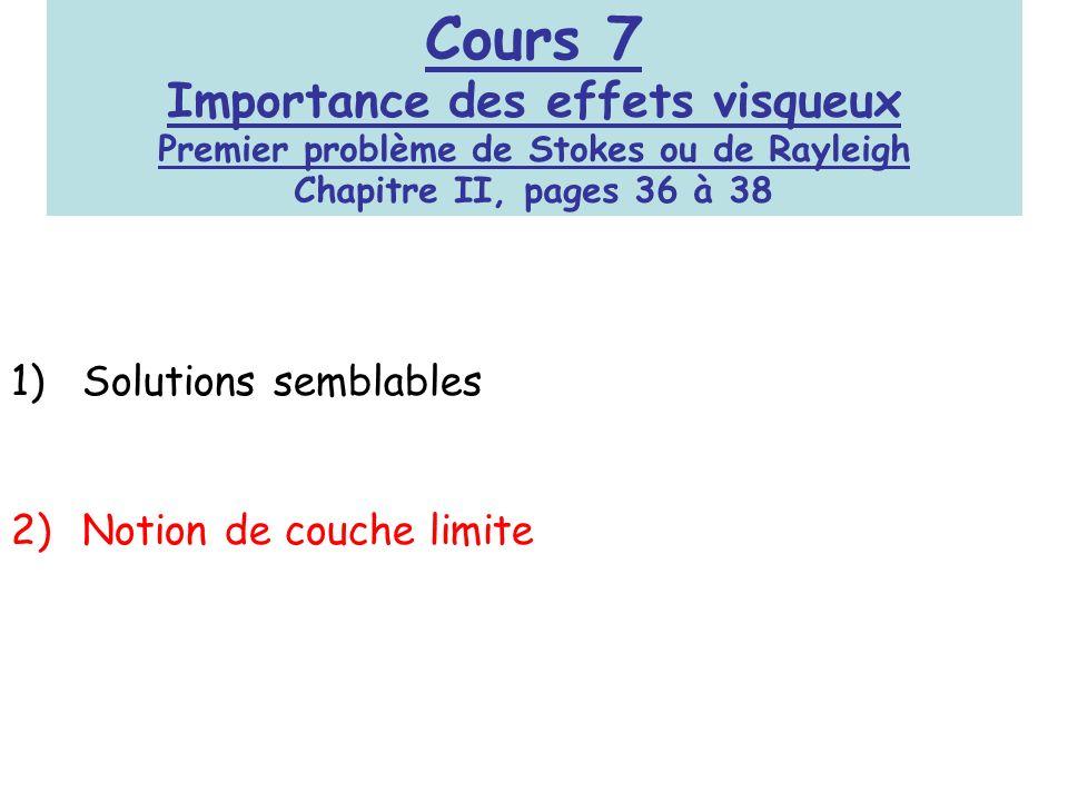 Cours 7 Importance des effets visqueux Premier problème de Stokes ou de Rayleigh Chapitre II, pages 36 à 38
