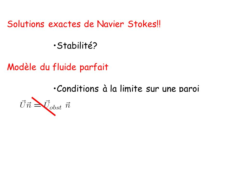 Solutions exactes de Navier Stokes!!