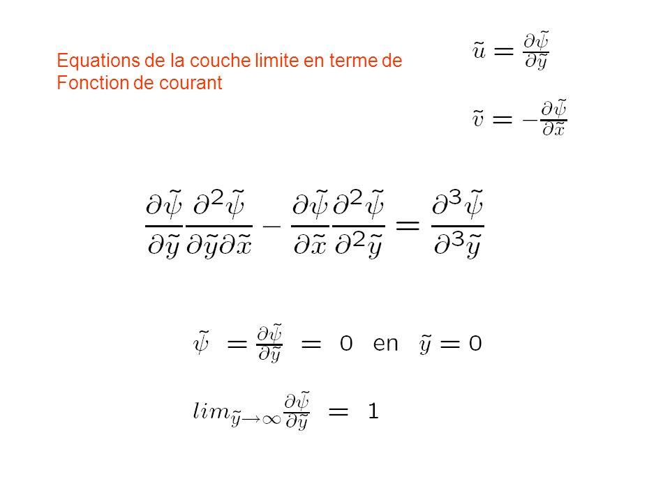 Equations de la couche limite en terme de