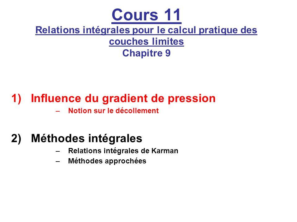 Cours 11 Relations intégrales pour le calcul pratique des couches limites Chapitre 9