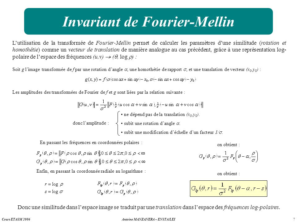 Invariant de Fourier-Mellin