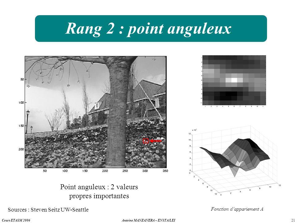 Rang 2 : point anguleux Point anguleux : 2 valeurs propres importantes