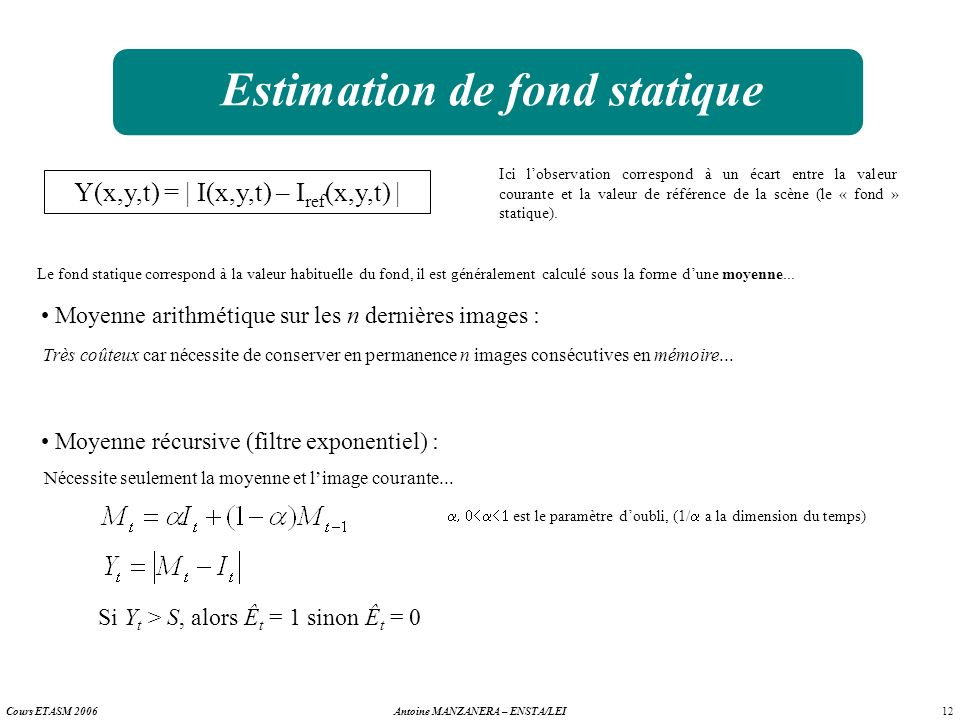 Estimation de fond statique