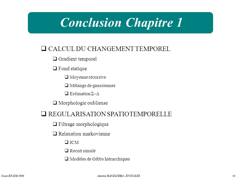Conclusion Chapitre 1 CALCUL DU CHANGEMENT TEMPOREL