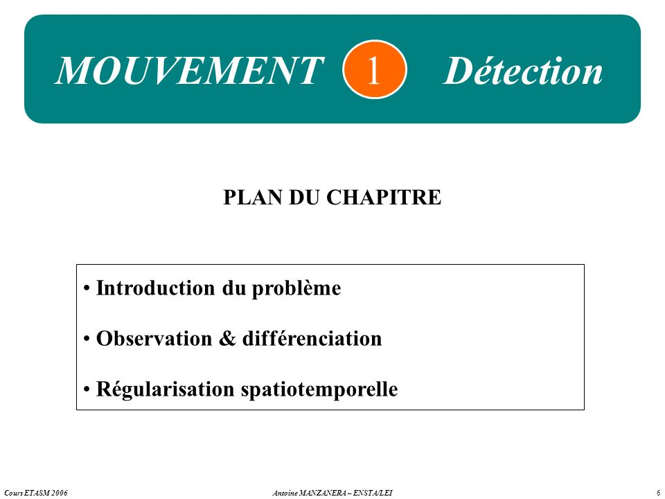 1 MOUVEMENT Détection PLAN DU CHAPITRE Introduction du problème