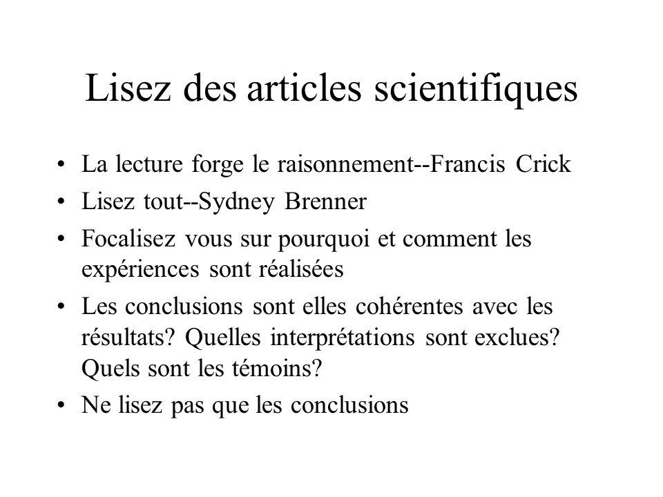 Lisez des articles scientifiques