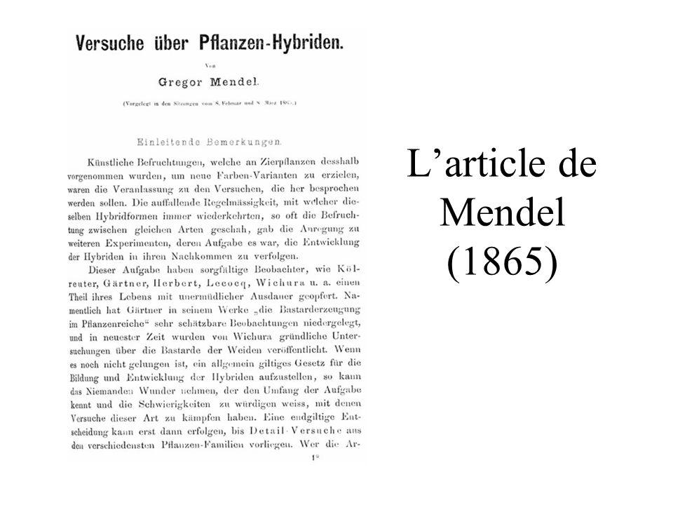 L'article de Mendel (1865)