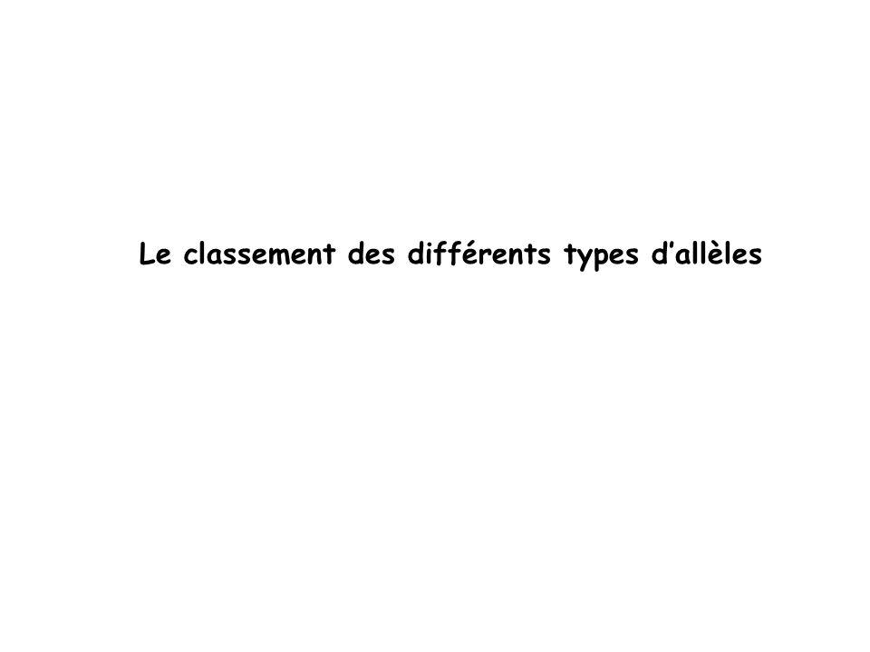 Le classement des différents types d'allèles