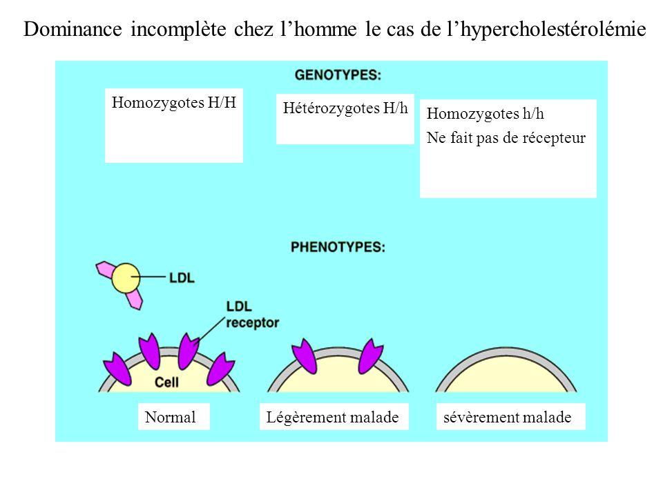 Dominance incomplète chez l'homme le cas de l'hypercholestérolémie
