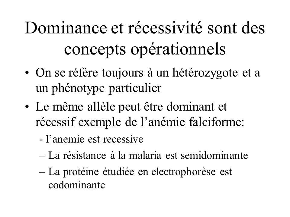 Dominance et récessivité sont des concepts opérationnels