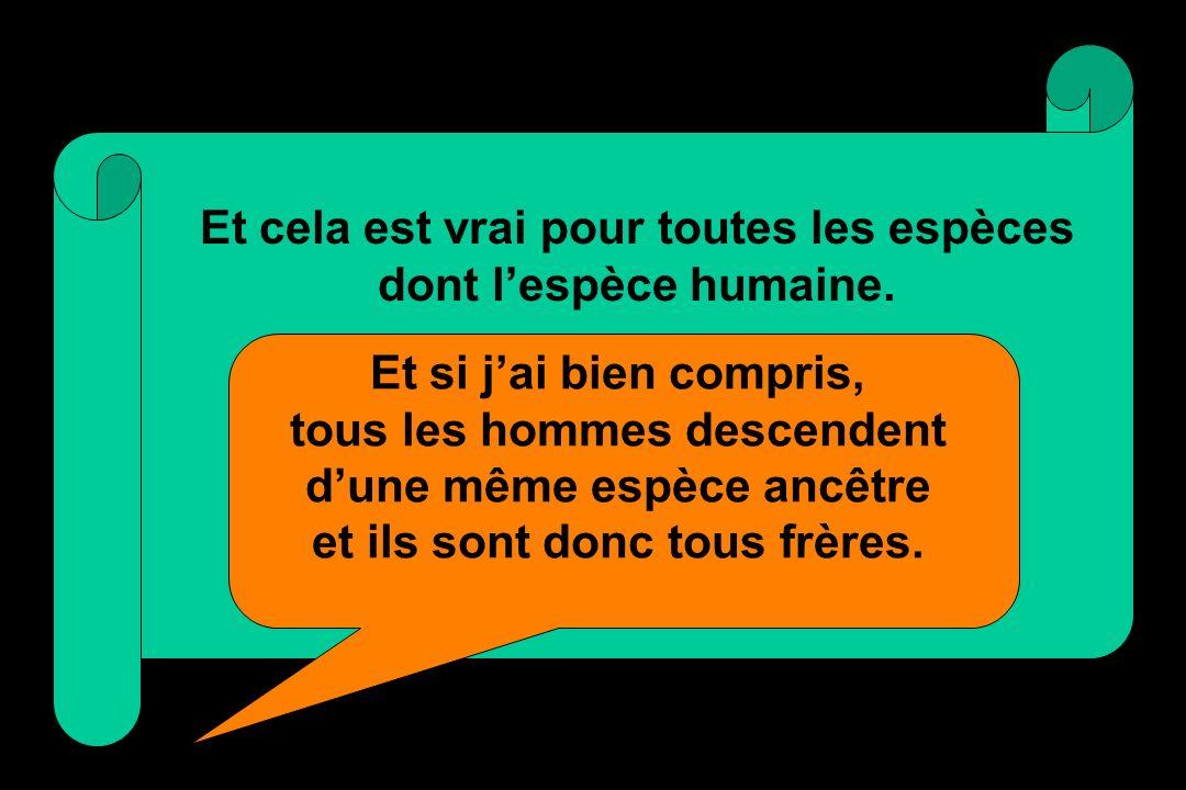 Et cela est vrai pour toutes les espèces dont l'espèce humaine.