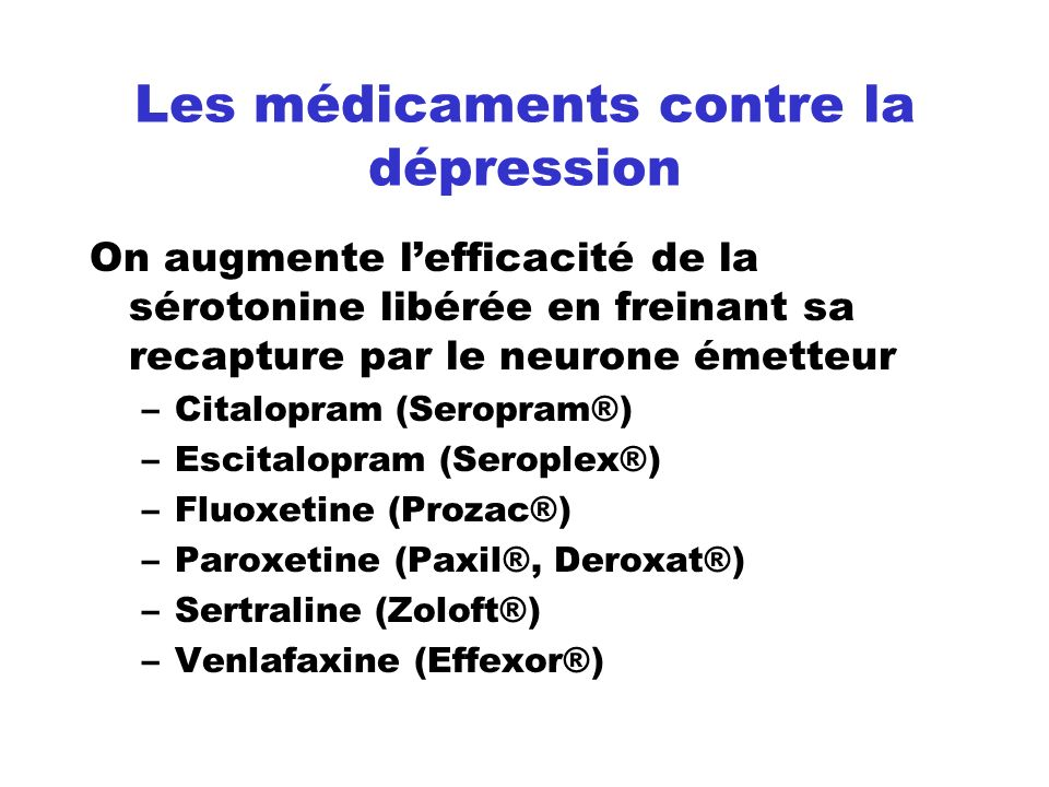 Les médicaments contre la dépression