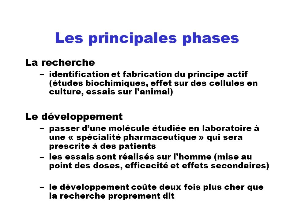 Les principales phases