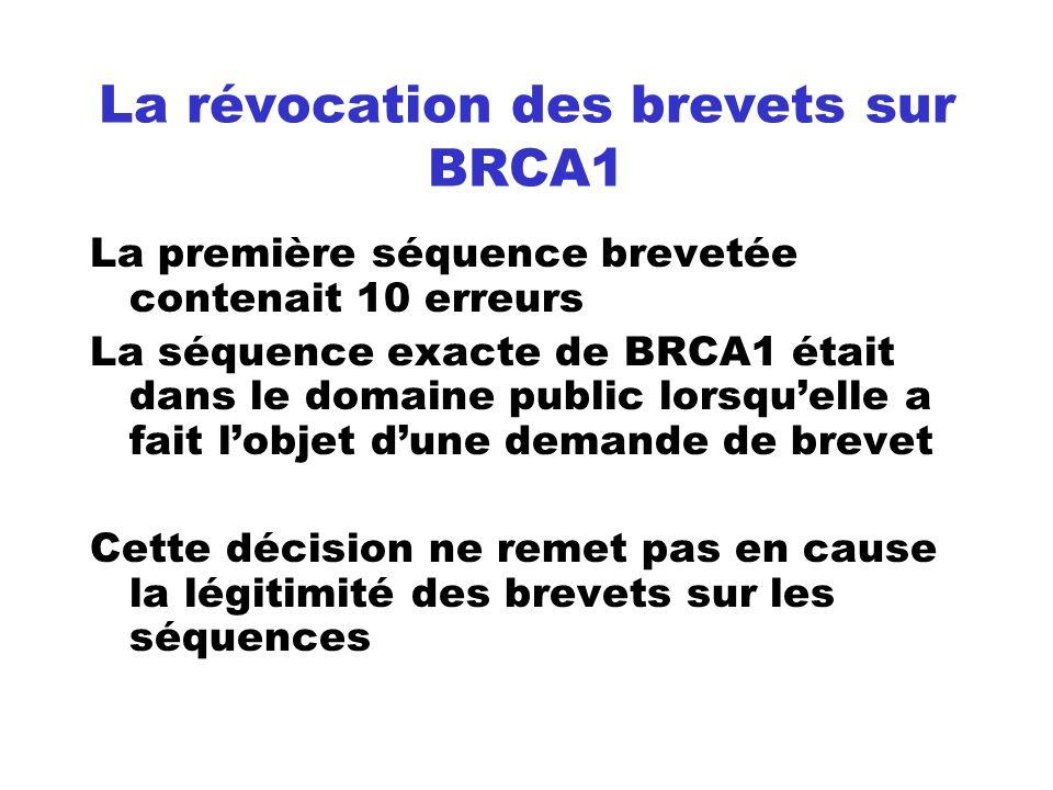 La révocation des brevets sur BRCA1