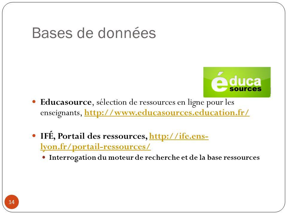 Bases de données Educasource, sélection de ressources en ligne pour les enseignants, http://www.educasources.education.fr/