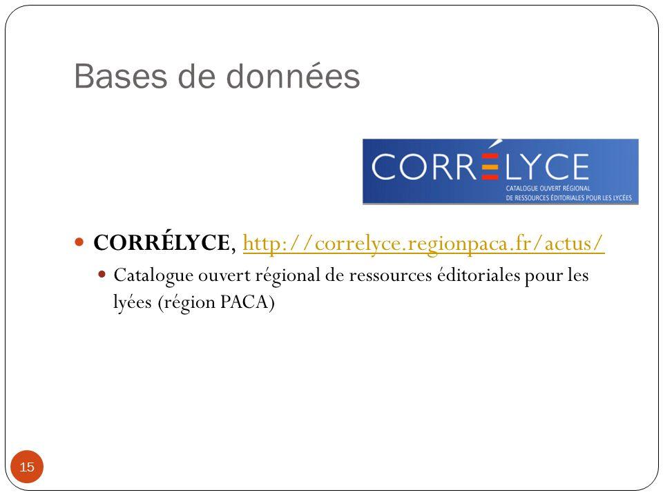 Bases de données CORRÉLYCE, http://correlyce.regionpaca.fr/actus/