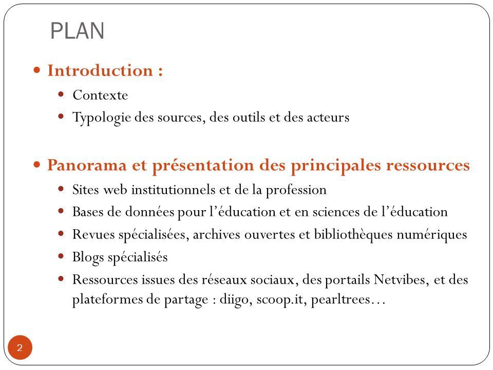 PLAN Introduction : Contexte. Typologie des sources, des outils et des acteurs. Panorama et présentation des principales ressources.
