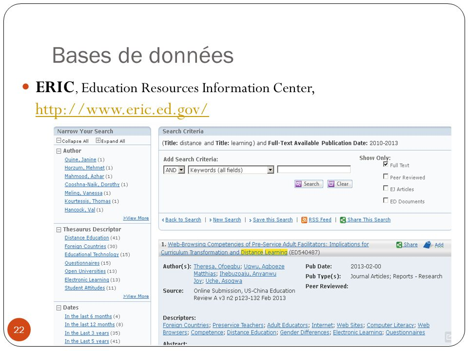 Bases de données ERIC, Education Resources Information Center, http://www.eric.ed.gov/