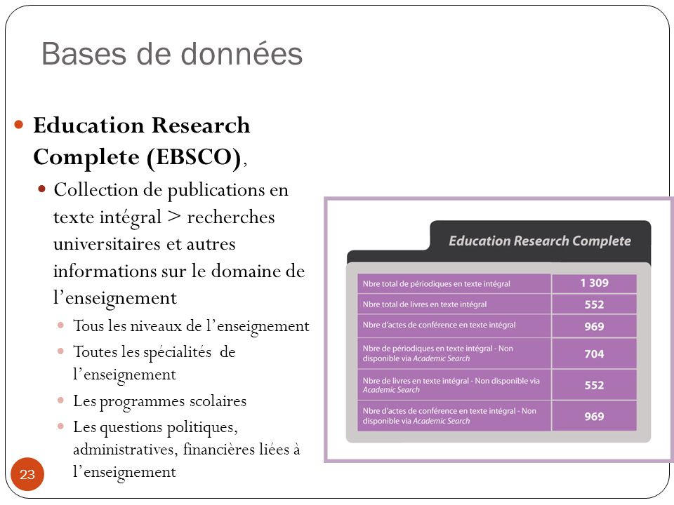 Bases de données Education Research Complete (EBSCO),