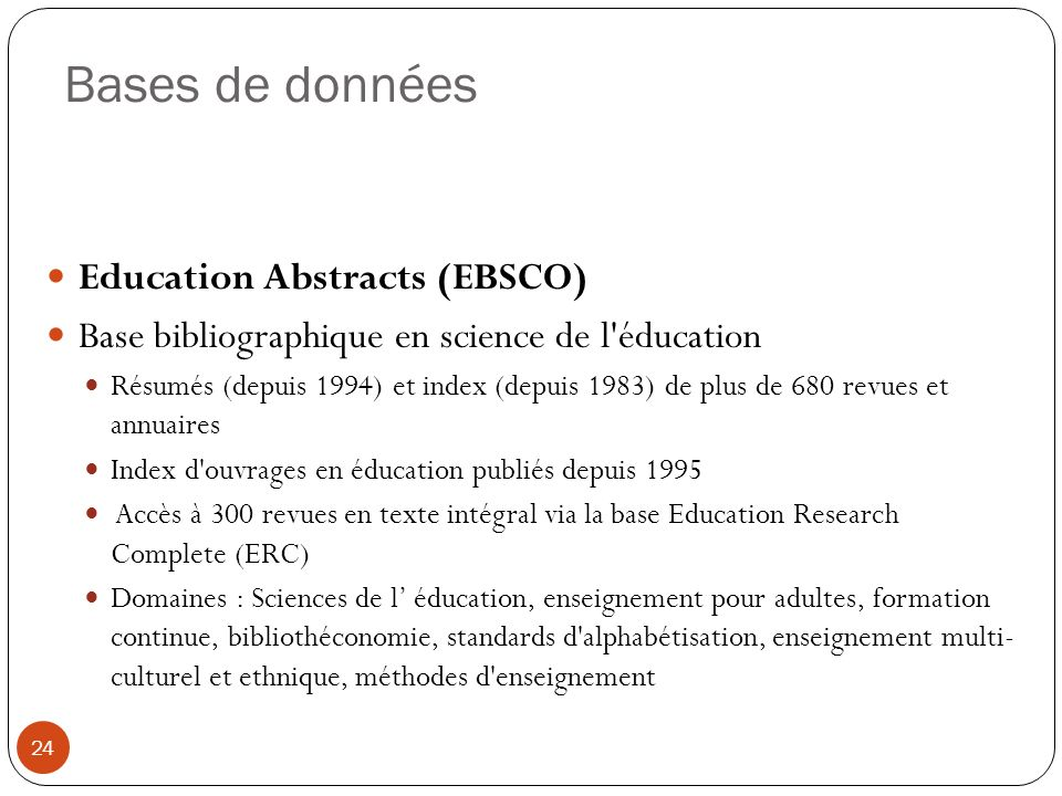 Bases de données Education Abstracts (EBSCO)