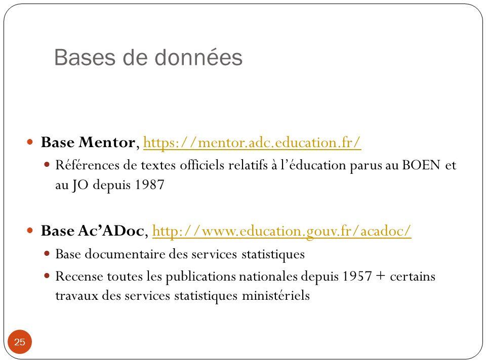 Bases de données Base Mentor, https://mentor.adc.education.fr/