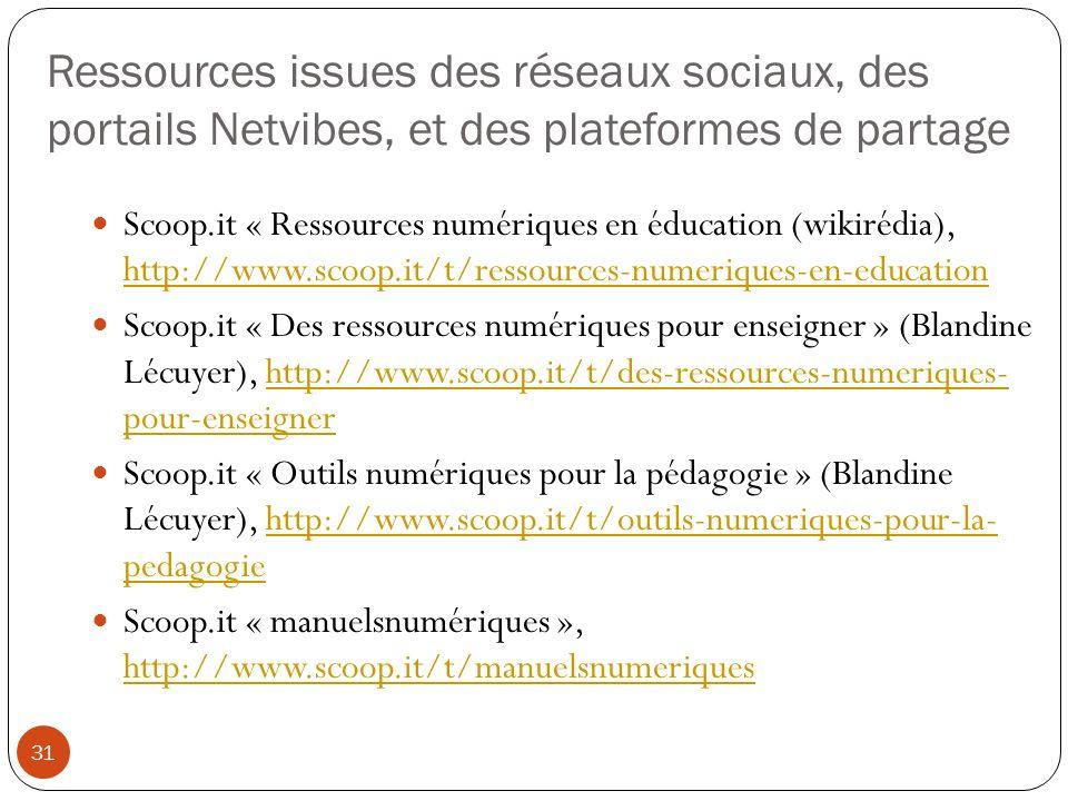 Ressources issues des réseaux sociaux, des portails Netvibes, et des plateformes de partage
