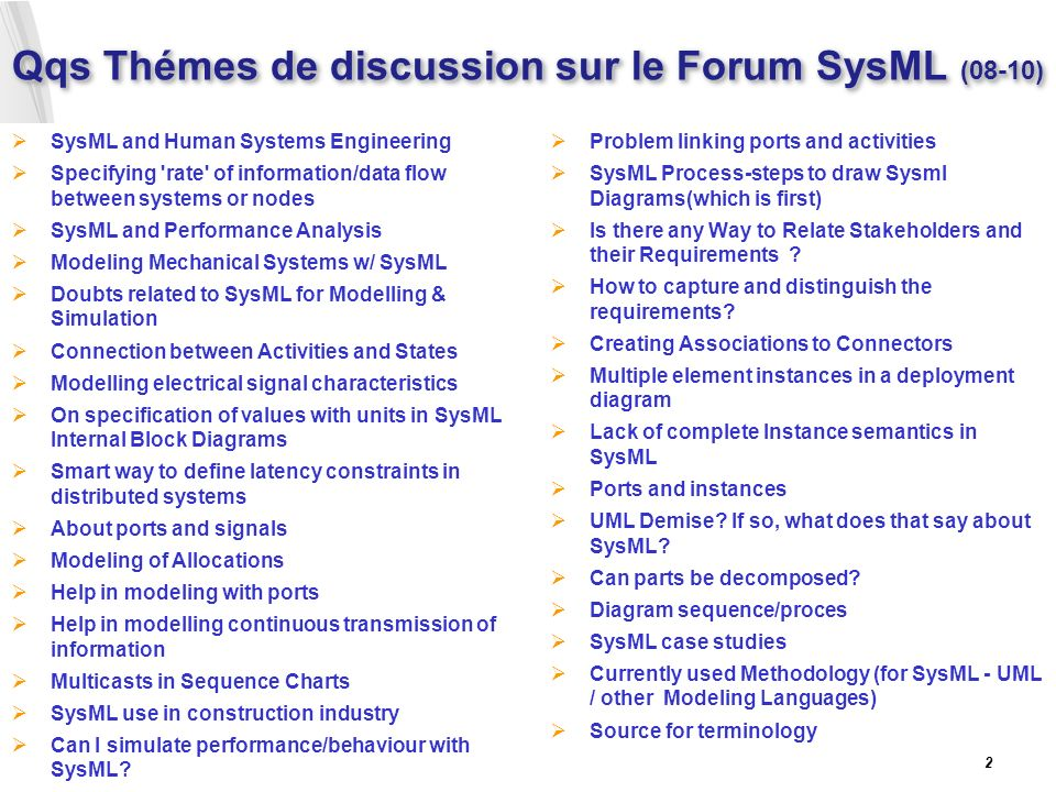 Qqs Thémes de discussion sur le Forum SysML (08-10)