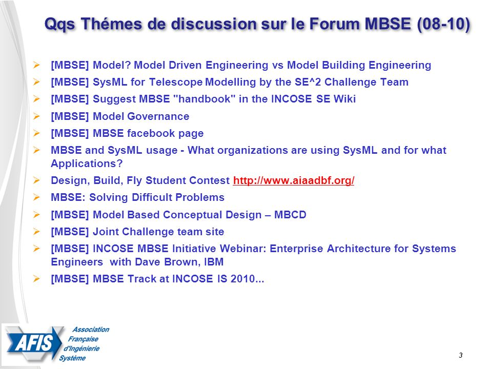 Qqs Thémes de discussion sur le Forum MBSE (08-10)