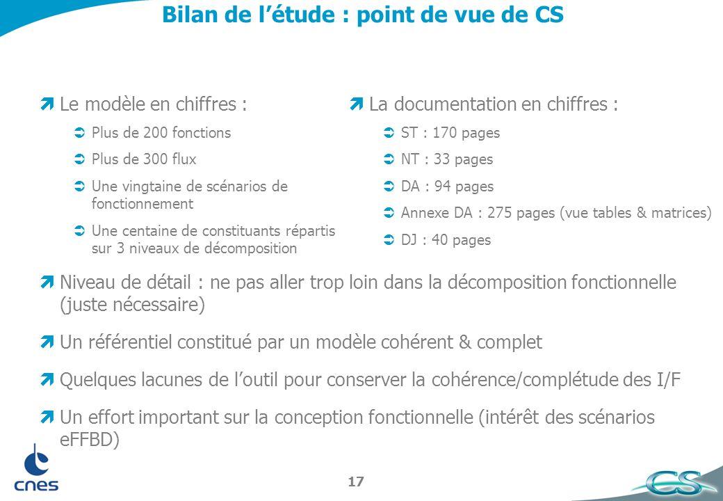 Bilan de l'étude : point de vue de CS