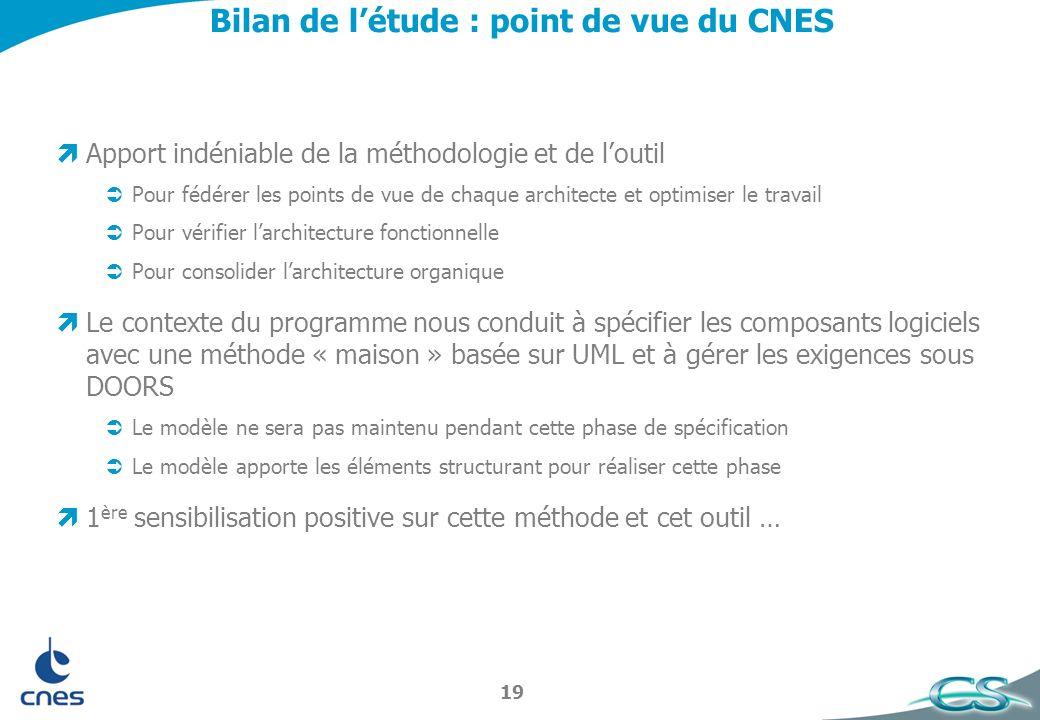 Bilan de l'étude : point de vue du CNES