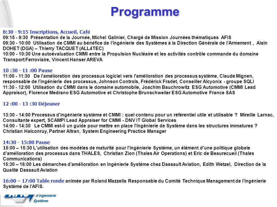 Programme 8:30 - 9:15 Inscriptions, Accueil, Café