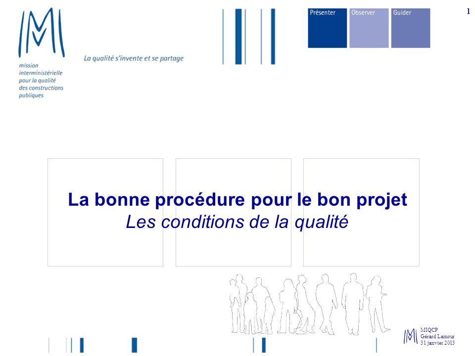 La bonne procédure pour le bon projet Les conditions de la qualité