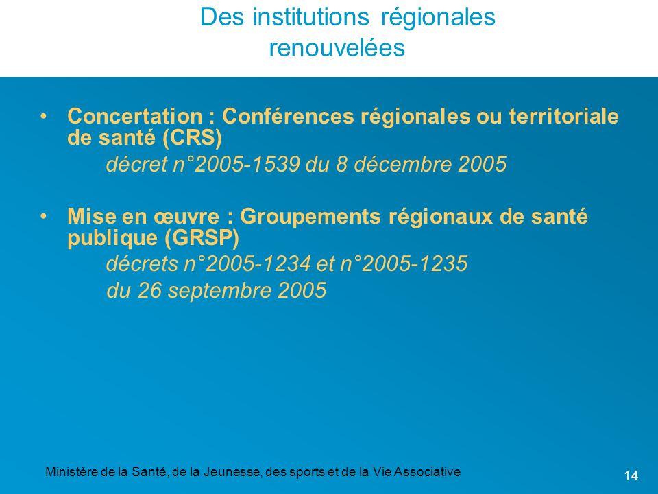 Des institutions régionales renouvelées