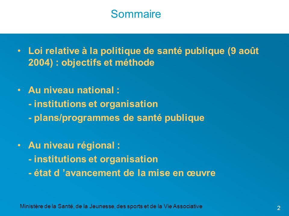 Sommaire Loi relative à la politique de santé publique (9 août 2004) : objectifs et méthode. Au niveau national :