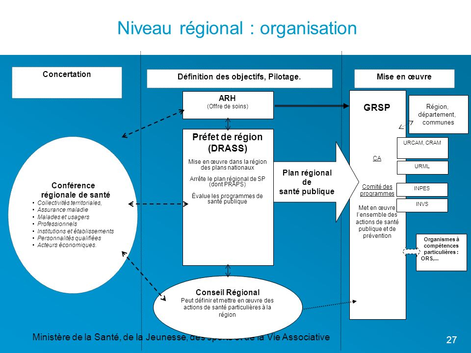 Niveau régional : organisation