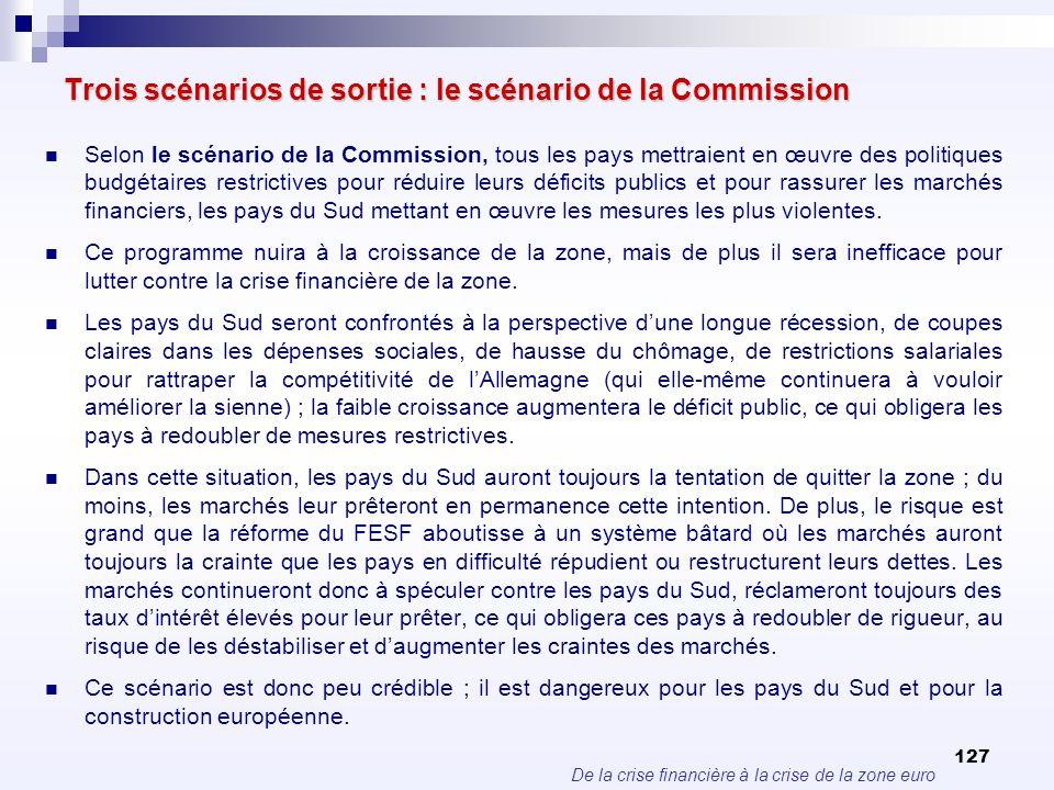 Trois scénarios de sortie : le scénario de la Commission